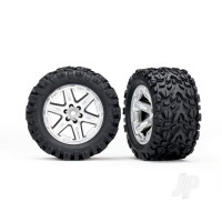 Tyres & wheels, assembled, glued (2.8in) (RXT satin chrome wheels, Talon Extreme Tyres, foam inserts) (2WD electric rear) (2pcs) (TSM rated)