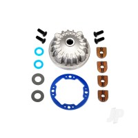 Housing, center Differential (Aluminium) / x-ring gaskets (2 pcs) / ring gear gasket / bushings (2 pcs) / 5x10x0.5mm PTFE-coated washers (2 pcs) / 2.5x8 CCS (4 pcs)
