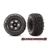 Tyres & Wheels, assembled, glued (black 2.8in wheels, Sledgehammer Tyres, foam inserts) (2pcs) (TSM rated)