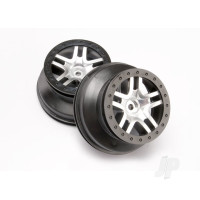 Wheels, SCT Split-Spoke, satin chrome, black beadlock style, dual profile (2.2in outer, 3.0in inner) (4WD front & rear, 2WD rear only) (2pcs)
