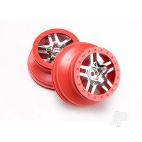 Wheels, SCT Split-Spoke, chrome, red beadlock style, dual profile (2.2in outer, 3.0in inner) (4WD front & rear, 2WD rear) (2pcs)