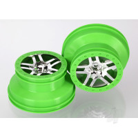Wheels, SCT Split-Spoke, chrome, green beadlock style, dual profile (2.2in outer, 3.0in inner) (4WD front & rear, 2WD rear) (2pcs)