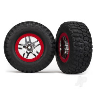 Tyres & wheels, assembled, glued (S1 ultra-soft, off-road racing compound) (SCT Split-Spoke chrome, red beadlock style wheels, BFGoodrich Mud-Terrain T / A KM2 Tyres, foam inserts) (2pcs) (4WD front & rear, 2WD rear)