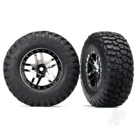 Tyres & Wheels, assembled, glued (SCT Split-Spoke black chrome beadlock style wheels, BFGoodrich Mud-Terrain T / A KM2 ultra-soft S1 compound off-road racing Tyres, foam inserts) (2pcs) (4WD front & rear, 2WD rear) (TSM rated)