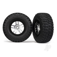 Tires & wheels, assembled, glued (S1 ultra-soft off-road racing compound) (SCT Split-Spoke satin chrome, black beadlock style wheels, BFG Mud-Terrain tires, foam inserts) (2pcs) (4WD front & rear, 2WD rear only)
