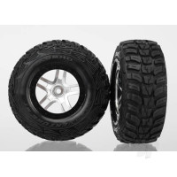 Tires & wheels, assembled, glued (S1 ultra-soft off-road racing compound) (SCT Split-Spoke satin chrome, black beadlock style wheels, Kumho tires, foam inserts) (2pcs) (4WD front & rear, 2WD rear only)