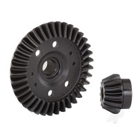 Ring gear, differential / pinion gear, differential (machined, spiral cut) (rear)