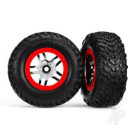 Tyres & wheels, assembled, glued (S1 compound) (SCT Split-Spoke chrome, red beadlock style wheels, dual profile (2.2in outer, 3.0in inner), SCT off-road racing Tyres, foam inserts) (2pcs) (4WD front & rear, 2WD rear) (TSM rated)