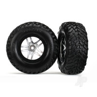 Tyres & wheels, assembled, glued (S1 compound) (SCT Split-Spoke satin chrome, black beadlock style wheels, dual profile (2.2in outer, 3.0in inner), SCT off-road racing Tyres, foam inserts) (2pcs) (4WD front & rear, 2WD rear) (TSM rated)