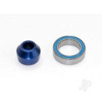 Bearing adapter, 6160-T6 aluminium (Blue-anodized) (1pc) / 10x15x4mm ball bearing (Blue rubber sealed) (1pc) (for slipper shaft)