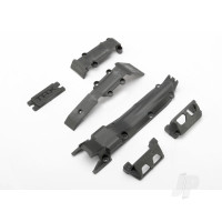 Skidplate set, front (1pc) / rear (1pc) / transmission (1pc) / steering servo guards (2pcs) / steering servo cover plate (1pc)