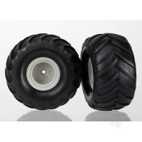 Tires & wheels, assembled (grey wheels (dual profile, 1.5in outer and 2.2in inner), dual profile tires) (2pcs)