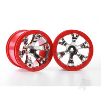 Wheels, Geode 2.2in (chrome, red beadlock style) (12mm hex) (2pcs)