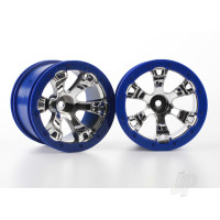 Wheels, Geode 2.2in (chrome, blue beadlock style) (12mm hex) (2pcs)