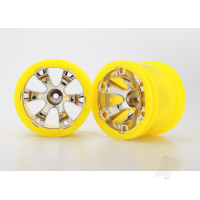 Wheels, Geode 2.2in (chrome, yellow beadlock style) (12mm hex) (2pcs)