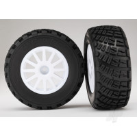 Tyres & Wheels, assembled, glued (White wheels, BFGoodrich Rally, gravel pattern, Tyres, foam inserts) (2pcs) (TSM rated)
