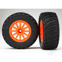 Tyres & Wheels, assembled, glued (orange wheels, BFGoodrich Rally, gravel pattern Tyres, foam inserts) (2pcs) (TSM rated)