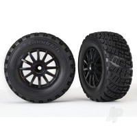 Tyres & Wheels, assembled, glued (black wheels, gravel pattern Tyres, foam inserts) (2pcs) (TSM rated)