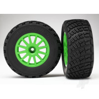 Tyres & Wheels, assembled, glued (Green wheels, BFGoodrich Rally, gravel pattern Tyres, foam inserts) (2pcs) (TSM rated)