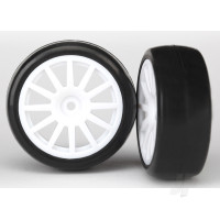 Tires & wheels, assembled, glued (12-spoke white wheels, slick tires) (2pcs)