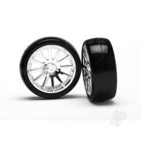 Tires & wheels, assembled, glued (12-spoke chrome wheels, slick tires) (2pcs)