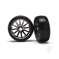 Tires & wheels, assembled, glued (12-spoke black chrome wheels, slick tires) (2pcs)
