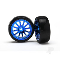 Tires & wheels, assembled, glued (12-spoke blue chrome wheels, slick tires) (2pcs)