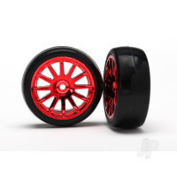 Tires & wheels, assembled, glued (12-spoke red chrome wheels, slick tires) (2pcs)