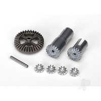 Gear set, differential, metal (output gears (2pcs) / spider gears (4pcs) / ring gear, 35T (1pc) / 2x14.8mm pin (1pc))