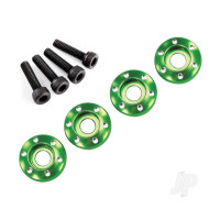 Wheel nut washer, machined aluminium, green / 3x12mm CS (4pcs)
