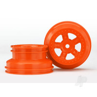 Wheels, SCT orange, beadlock style, dual profile (1.8in inner, 1.4in outer) (2pcs)