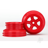 Wheels, SCT red, beadlock style, dual profile (1.8in inner, 1.4in outer) (2pcs)