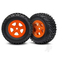 Tires and wheels, assembled, glued (SCT orange wheels, SCT off-road racing tires) (1 each, right & left)