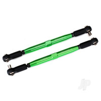 Toe links, X-Maxx (Tubes Green-anodized, 7075-T6 aluminium, stronger than titanium) (157mm) (2 pcs) / rod ends, assembled with Steel hollow balls (4 pcs) / aluminium wrench, 10mm (1pc)
