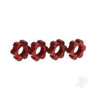 Wheel Hubs, hex, aluminium (Red-anodized) (4 pcs)