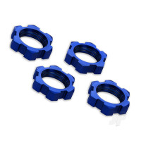 Wheel nuts, splined, 17mm, serrated (blue-anodized) (4pcs)