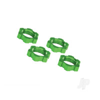 Wheel nuts, splined, 17mm, serrated (green-anodized) (4pcs)