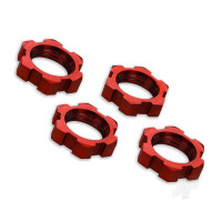 Wheel nuts, splined, 17mm, serrated (Red-anodized) (4 pcs)