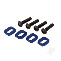 Washers, motor mount, aluminium (Blue-anodized) (4 pcs) / 4x18mm BCS (4 pcs)