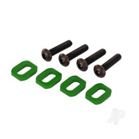 Washers, motor mount, aluminium (Green-anodized) (4 pcs) / 4x18mm BCS (4 pcs)