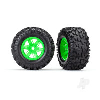 Tires & wheels, assembled, glued (X-Maxx green wheels, Maxx AT tires, foam inserts) (left & right) (2pcs)