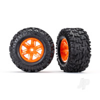 Tires & wheels, assembled, glued (X-Maxx orange wheels, Maxx AT tires, foam inserts) (left & right) (2pcs)