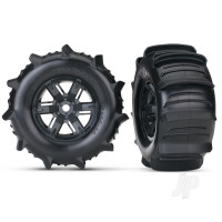 Tires & wheels, assembled, glued (X-Maxx black wheels, paddle tires, foam inserts) (left & right) (2pcs)