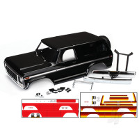 Body, Ford Bronco, complete (black) (includes front and rear bumpers, push bar, rear body mount, grille, side mirrors, door handles, windshield wipers, spare tire mount, red and sunset decals) (requires #8072 inner fenders)