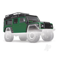 Body, Land Rover Defender, green (complete with ExoCage, inner fenders, fuel canisters, and jack)