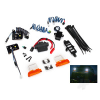 LED light set, complete with power supply (contains headlights, tail lights, side marker lights, & distribution block) (fits #8010 body)