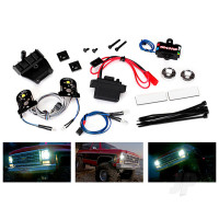 LED light set, complete with power supply (contains headlights, tail lights, side marker lights, distribution block, and power supply) (fits #8130 body)