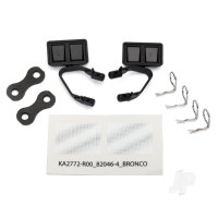 Mirrors, side, black (left & right) / retainers (2pcs) / body clips (4pcs) (fits #8010 body)