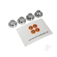 Center caps, wheel (chrome) (4pcs) / decal sheet (requires #8255A extended stub axle)