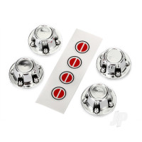 Center caps, wheel (chrome) (4 pcs) / decal sheet (requires #8255A extended stub axle)